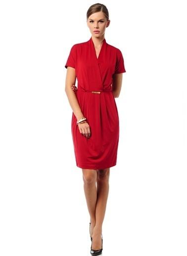 Asymmetry Kısa Kollu Elbise Kırmızı